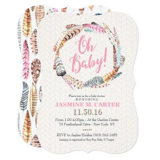 Baby shower för Boho stam- fjädervattenfärg | 12,7 X 17,8 Cm Inbjudningskort