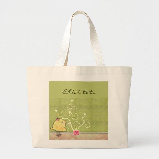Baby shower för chick- och blommahjärtaträd tote bags