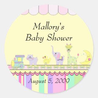 Baby shower för cirkusbabytåg runt klistermärke