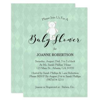 Baby shower för diamant för grönt för vitnallevis 12,7 x 17,8 cm inbjudningskort