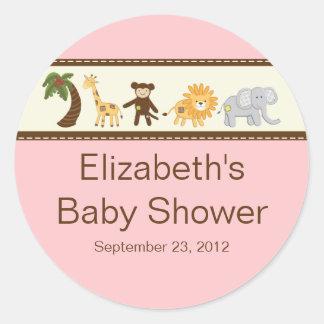 Baby shower för flicka för djungelSafaridjur rosa Runt Klistermärke
