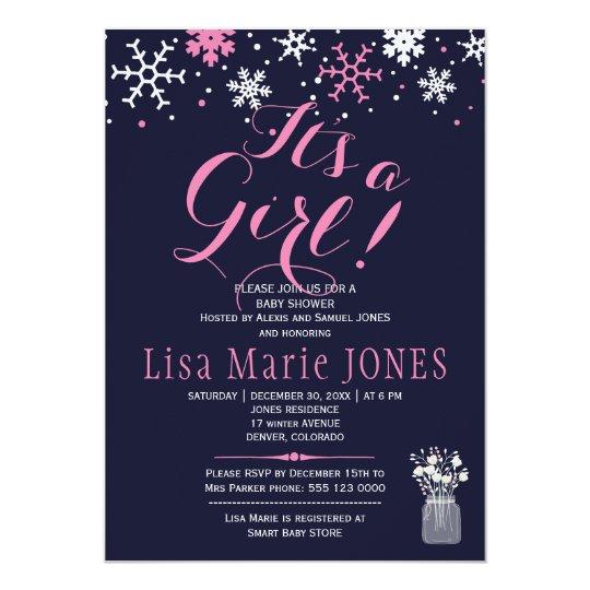 Baby shower för flicka för rosa vitsnöflingor 12,7 x 17,8 cm inbjudningskort