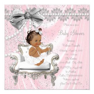 Baby shower för flicka för stol för rosagråttpärla fyrkantigt 13,3 cm inbjudningskort