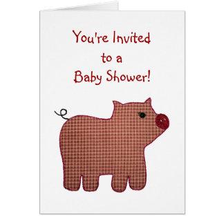 Baby shower för gris för pläd för gullig landstil OBS kort