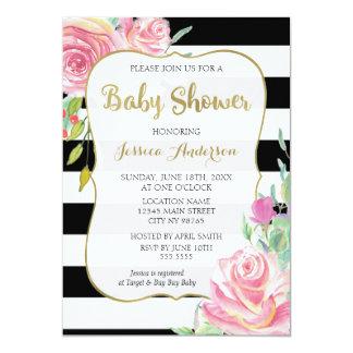 Baby shower för guld-, svart- & vitrandblommigt 12,7 x 17,8 cm inbjudningskort