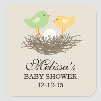 Baby shower för gult- och gröntbabyfågelbo | fyrkantigt klistermärke