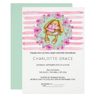 Baby shower för kaninkanin- och rosablommor 12,7 x 17,8 cm inbjudningskort