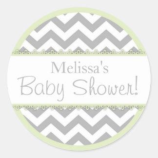Baby shower för kontrast för sparretryck- Mintgr Rund Klistermärke