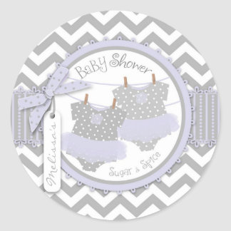 Baby shower för lavendeltutu- sparretrycktwillin klistermärken