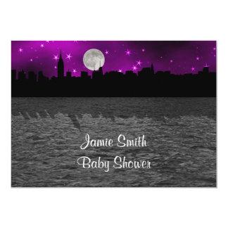 Baby shower för lilor för måne för 12,7 x 17,8 cm inbjudningskort