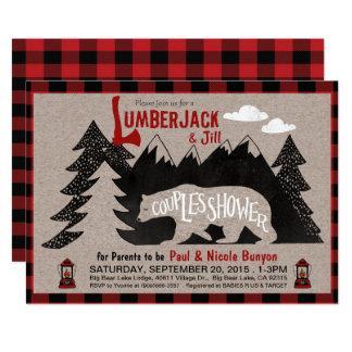 Baby shower för lumberjack- och Jill parCoed 12,7 X 17,8 Cm Inbjudningskort