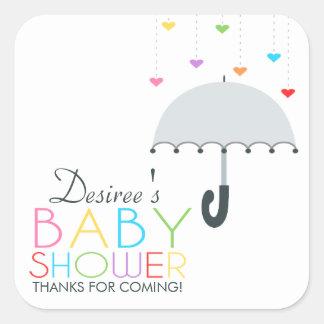 Baby shower för paraply för regnbågeRaindrops grå Fyrkantigt Klistermärke