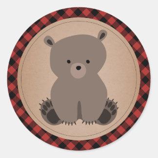 Baby shower för pläd för babybjörnunge runt klistermärke