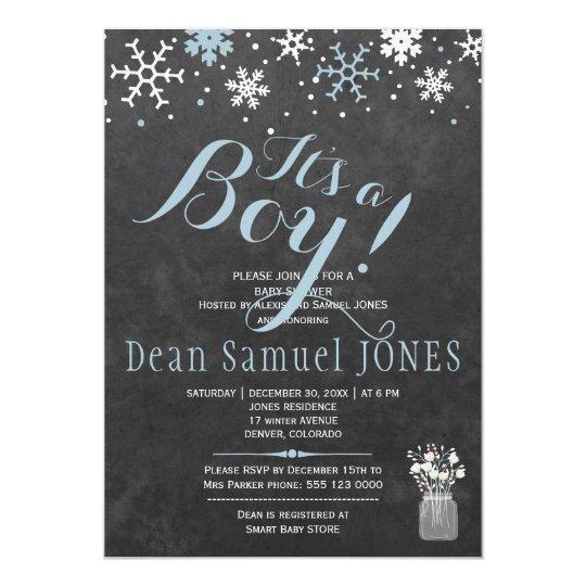 Baby shower för pojke för svart tavla för 12,7 x 17,8 cm inbjudningskort