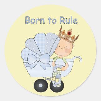 Baby shower för princen+Fött att härska! Rund Klistermärke