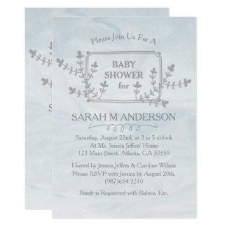 Baby shower för ram för himmelblåttnatur blom- 12,7 x 17,8 cm inbjudningskort