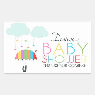 Baby shower för regnbågeparaplyneutralt rektangulärt klistermärke
