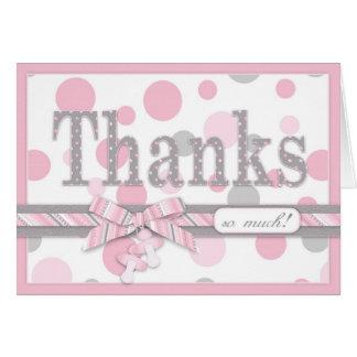 Baby shower för rosa- och gråttpolka dotstack OBS kort