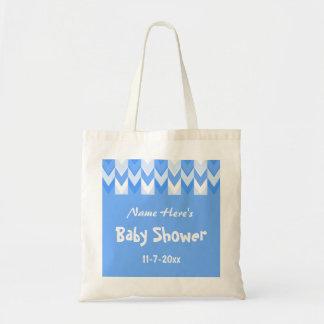 Baby shower för sparre för blått- och vitmönsterbl tote bags