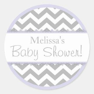 Baby shower för sparretryck- & lavendelkontrast runt klistermärke