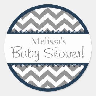 Baby shower för sparretryck- och marinkontrast runt klistermärke