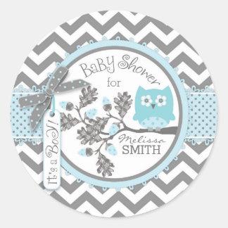 Baby shower för tryck för blåttugglasparre runt klistermärke