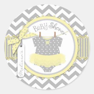 Baby shower för tryck för flickaTutusparre Runt Klistermärke