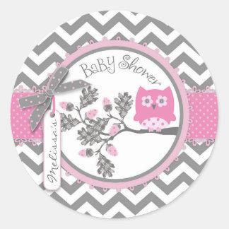 Baby shower för tryck för flickaugglasparre runt klistermärke
