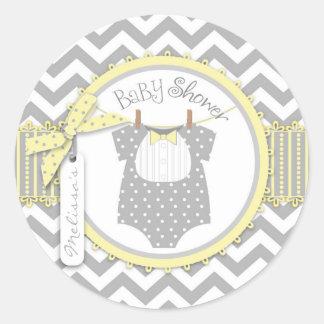 Baby shower för tryck för pojkeflugasparre runt klistermärke