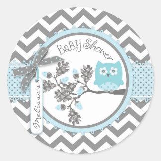 Baby shower för tryck för pojkeugglasparre runt klistermärke