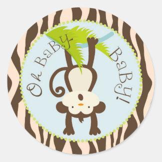 Baby shower för tryck för Safariapa djur Runda Klistermärken