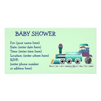Baby shower för tuttuttåg fotokort mall