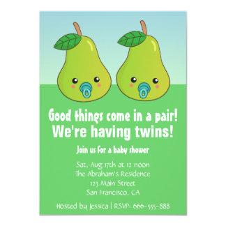 Baby shower för twillingar - gulliga pears med 11,4 x 15,9 cm inbjudningskort