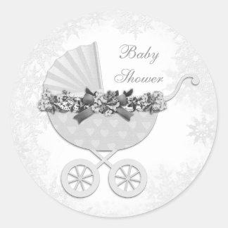 Baby shower för underland för vitSnowflakevinter Runt Klistermärke