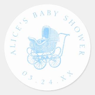 Baby shower för vintagebaby med hjärtfelvagn runt klistermärke