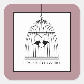Baby shower för vintagehjärtafågelbur fyrkantigt klistermärke
