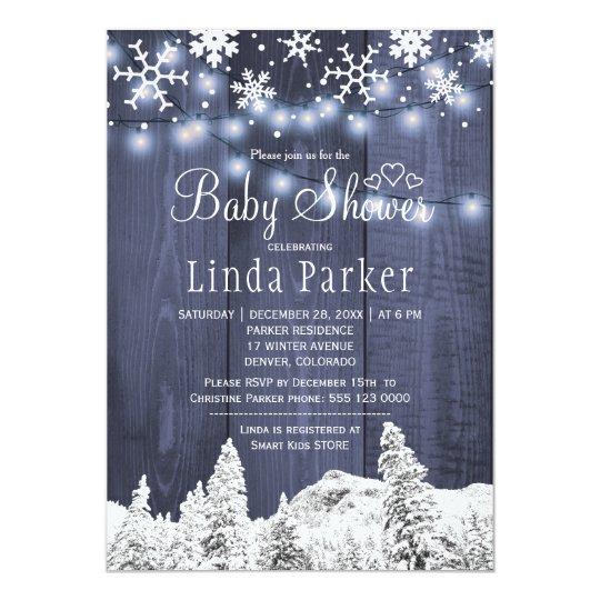 Baby shower för vinter för vitblåttunderland 12,7 x 17,8 cm inbjudningskort