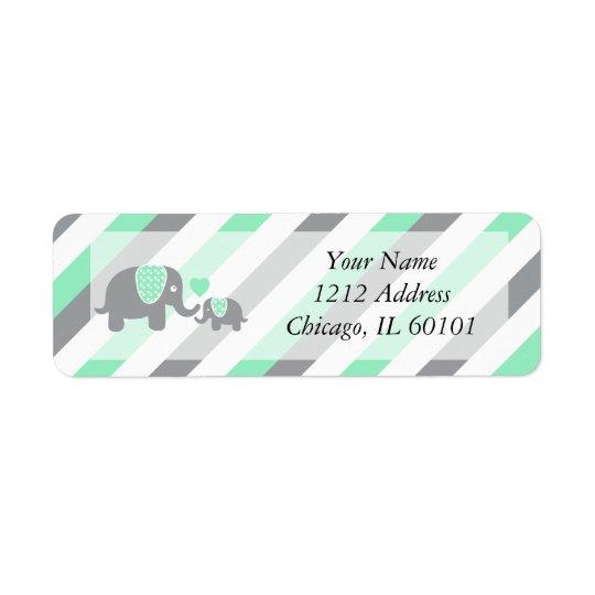 Baby shower för vit-, grönt- & gråttrandelefanter returadress etikett
