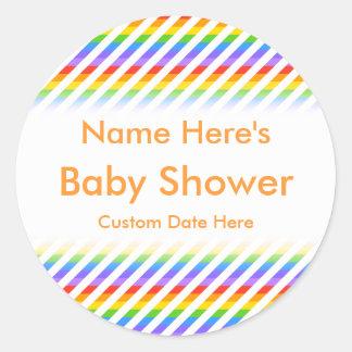 Baby shower Randar med regnbågefärger Runda Klistermärken
