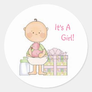 baby shower rosa, gåva, klistermärke som är