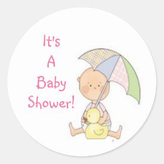 baby shower rosa paraply klistermärke som är gul