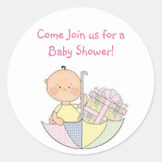 baby shower rosa presenter klistermärke som är g