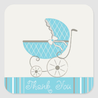 Baby showerbarnvagnklistermärkear fyrkantigt klistermärke
