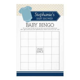 Baby showerBingo - gullig pojkepolka dotslek Reklamblad 14 X 21,5 Cm