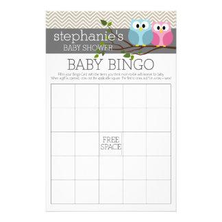 Baby showerBingolek - gulliga ugglor Reklamblad 14 X 21,5 Cm