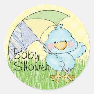 Baby showerblåttfågel runt klistermärke