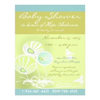 Baby showerblomma- och bireklamblad flyg blad