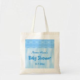 Baby showerdesign i blått budget tygkasse