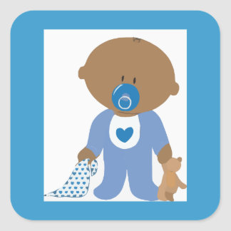 Baby showerfavörklistermärkear fyrkantigt klistermärke