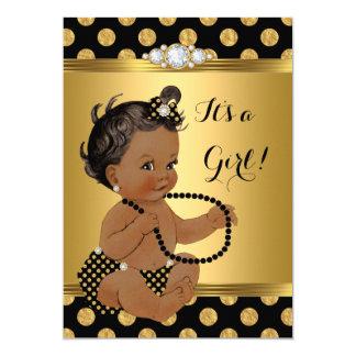 Baby showerflickaguld omkullkastar etniska svart 12,7 x 17,8 cm inbjudningskort